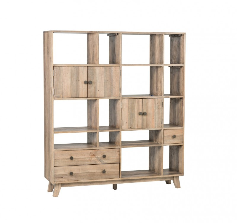 Sorrento Large Wall Unit Bookcase Reclaimed Pine Reside