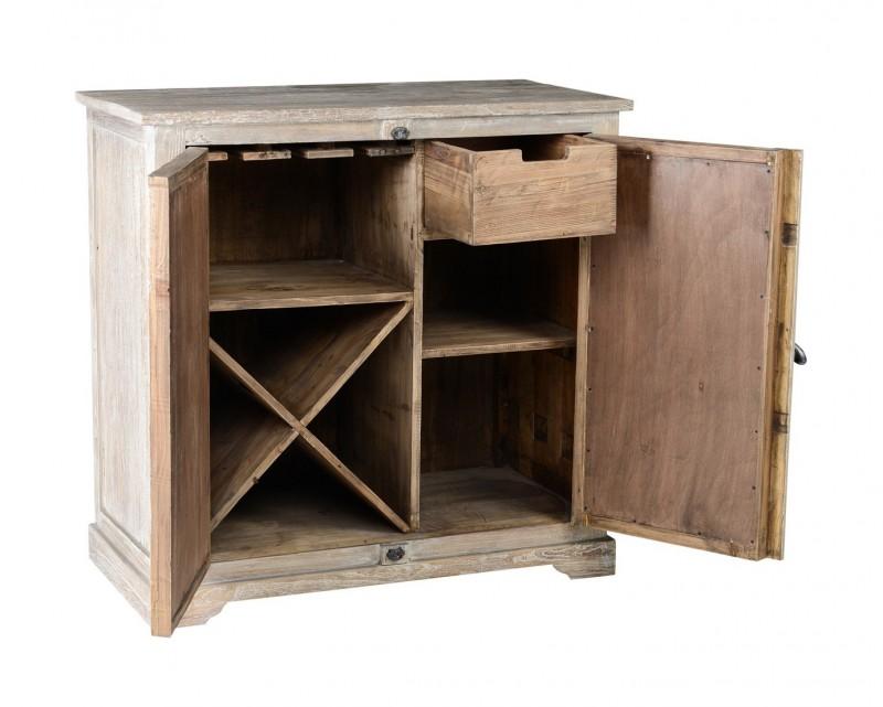 Solid Wood Wine Cabinet Mirrored Doors