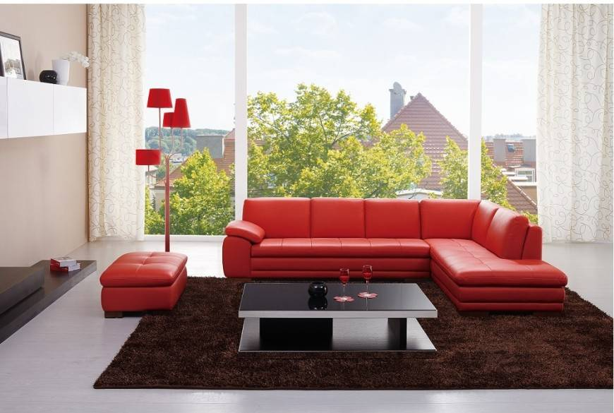Tampa Leather Sectional chaise Sofa | Reside Furnishings