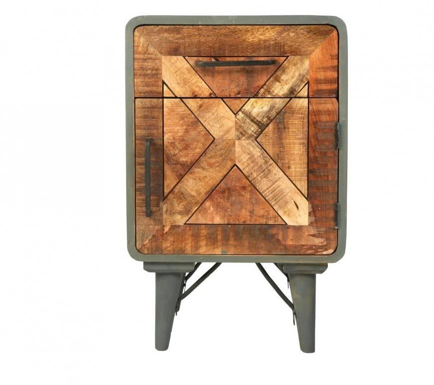 Cemento End Table Solid Mango Wood Sideboard Retro