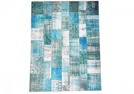 Patchwork Rug 5x8 - Turquoise