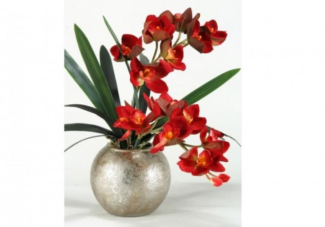 Orchids Silver Ball Planter