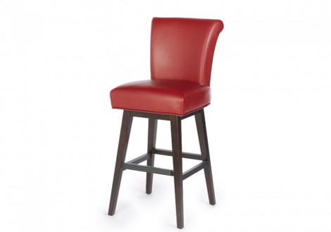Swivel Bar Stool Counter Bonded Leather Solid Wood Frame