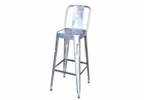 Solid Metal bar stool with back