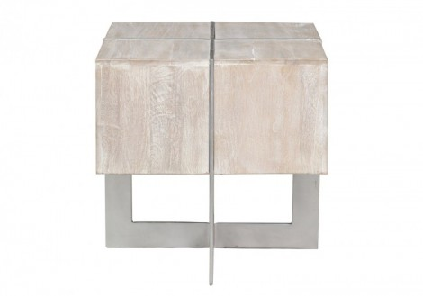 Desmond Wood Metal Square End Table