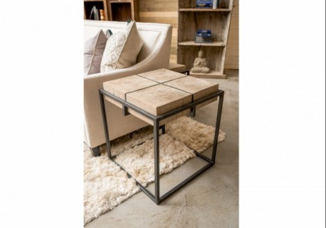 Cooper Wood End Table With Iron