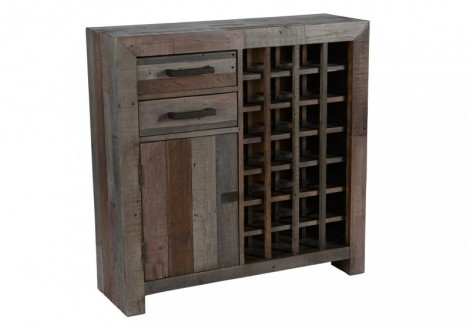 Reclaimed Solid Pine Omni Wine Cabinet
