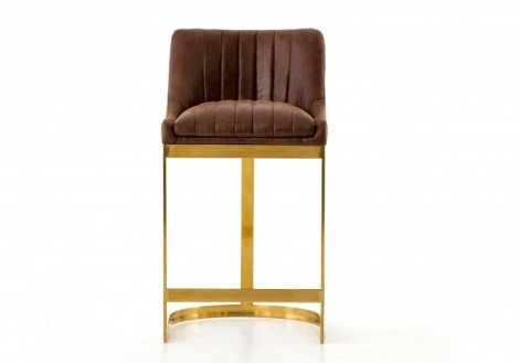 Rory Counter Stool- Tobacco & Brass
