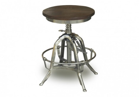 Industrial Wood & Stainless Steel Base Stool