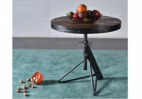 Adjustable Round Accent Table wood & Iron
