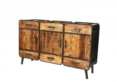 Industrial 3 door solid metal wood cabinet