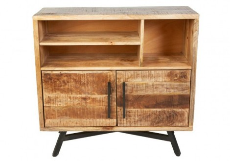 Retro Highboard Solid Mango Wood