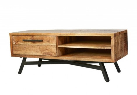 Retro TV Media Stand Solid Mango Wood