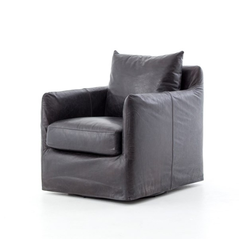Banks Leather Swivel Chair Four Hands
