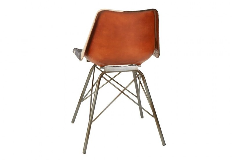 Industrial Cow Hide Molded Seat Chair