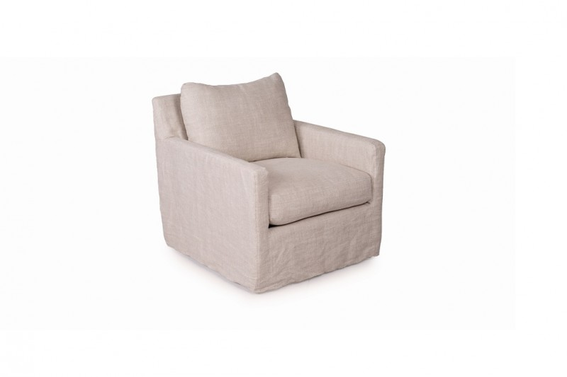 Connor Slip Cover Linen Swivel Chair