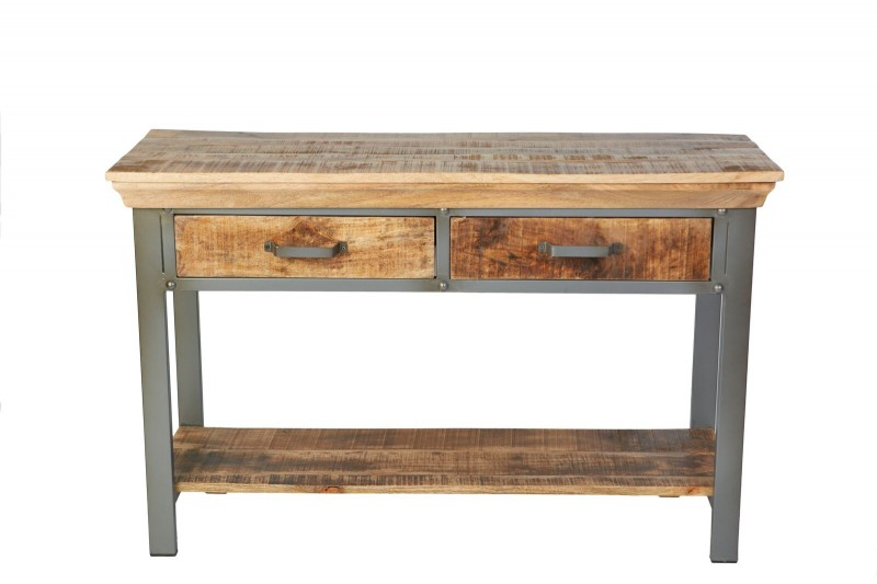 Industrie Console Table Solid Wood/Metal