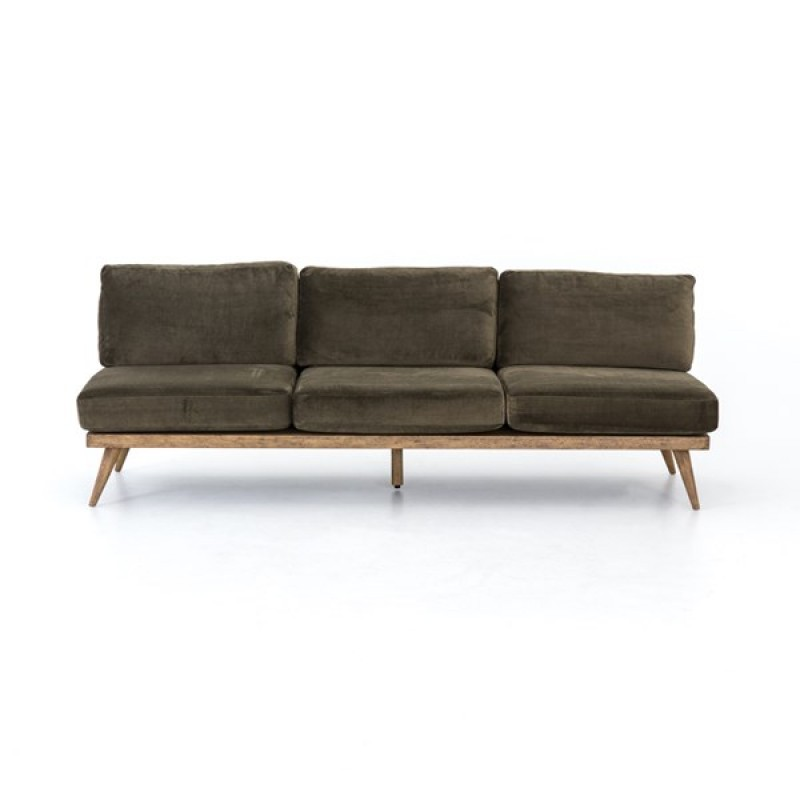 Tilly Armless sofa green velvet four hands