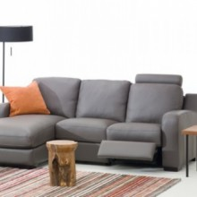 Embrace Leather Chaise with Recliner Sectional Sofa