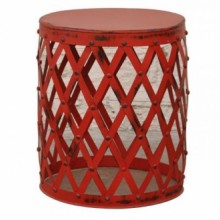 Design Woven Patti Metal Lamp End Table